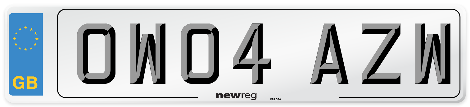 OW04 AZW Number Plate from New Reg