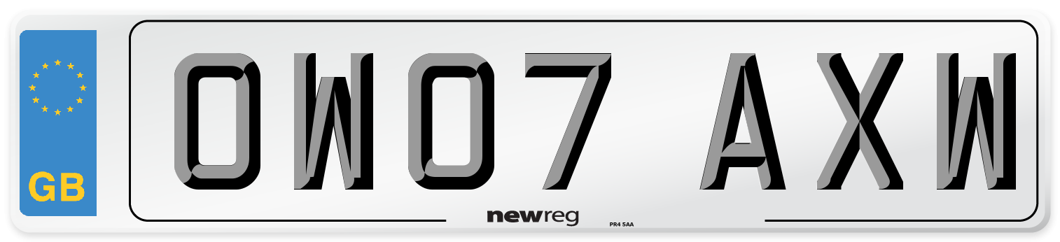 OW07 AXW Number Plate from New Reg