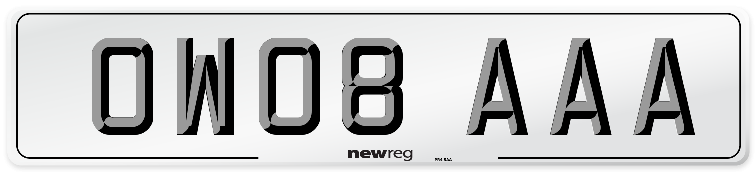 OW08 AAA Number Plate from New Reg