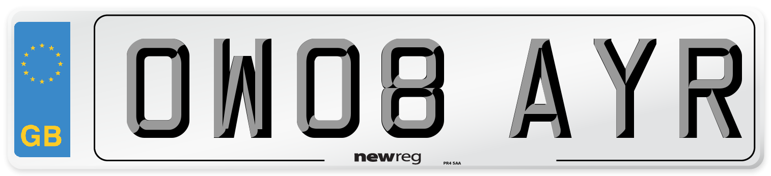 OW08 AYR Number Plate from New Reg