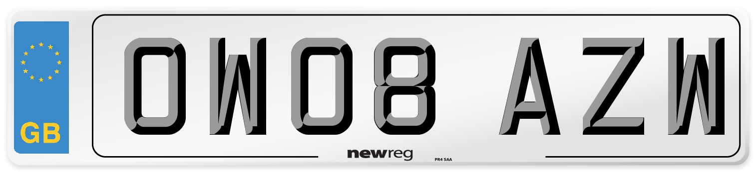 OW08 AZW Number Plate from New Reg