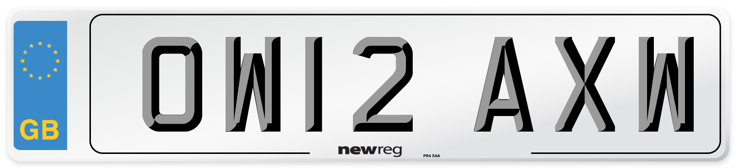 OW12 AXW Number Plate from New Reg