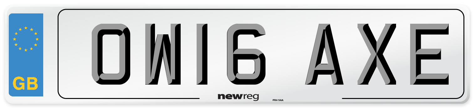 OW16 AXE Number Plate from New Reg