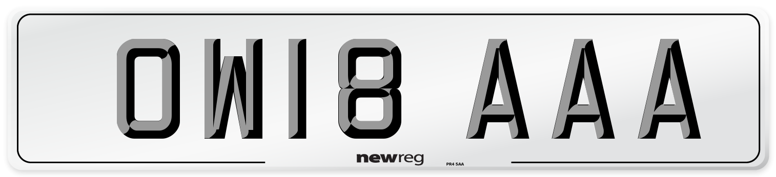 OW18 AAA Number Plate from New Reg