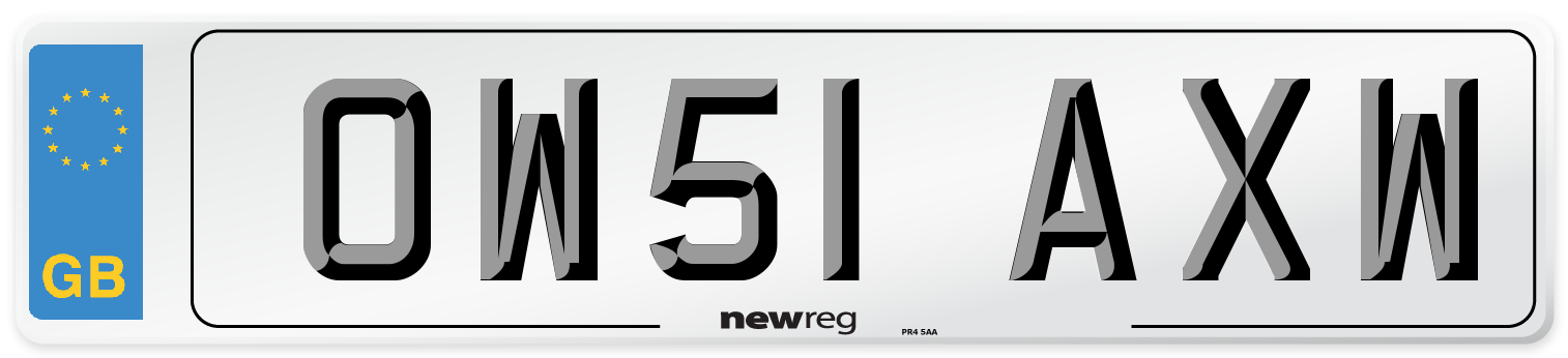 OW51 AXW Number Plate from New Reg