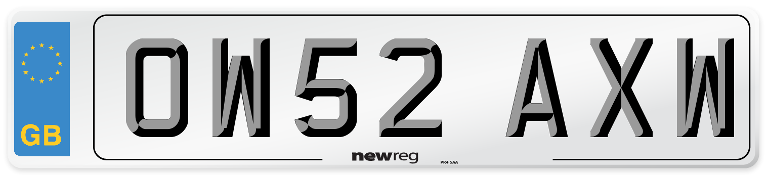 OW52 AXW Number Plate from New Reg