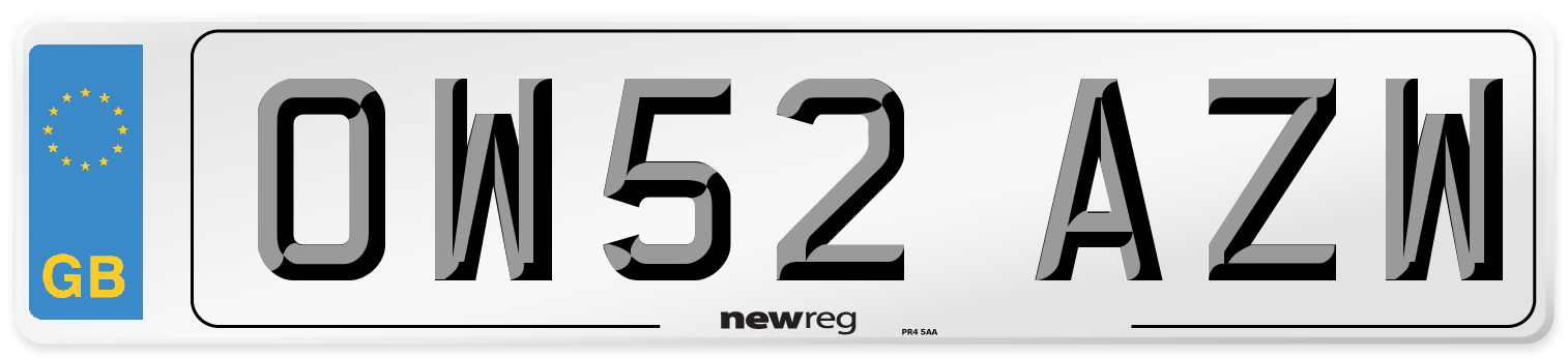 OW52 AZW Number Plate from New Reg