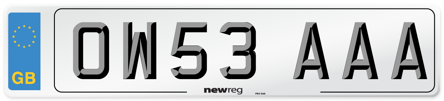 OW53 AAA Number Plate from New Reg