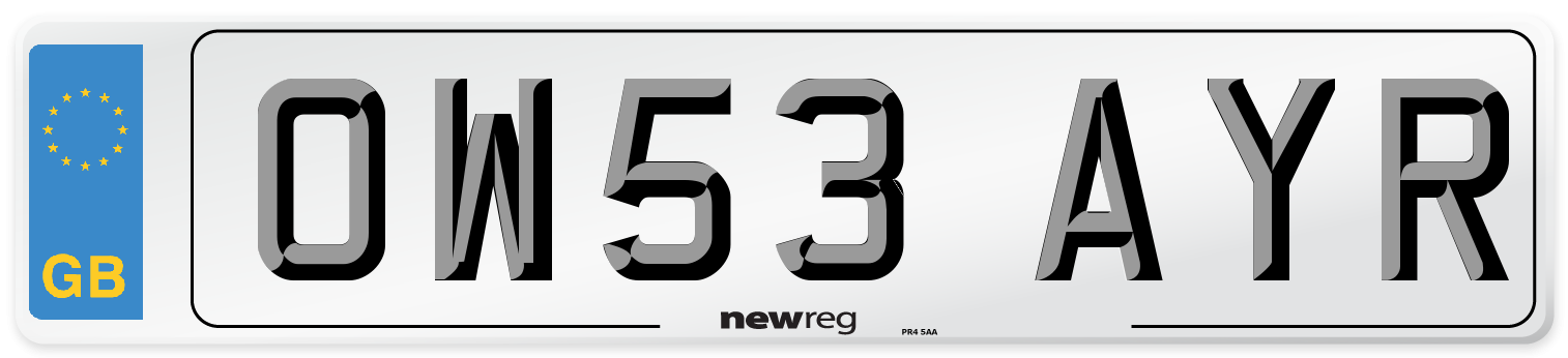 OW53 AYR Number Plate from New Reg