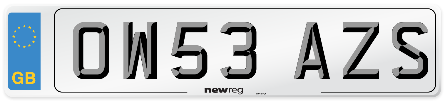 OW53 AZS Number Plate from New Reg