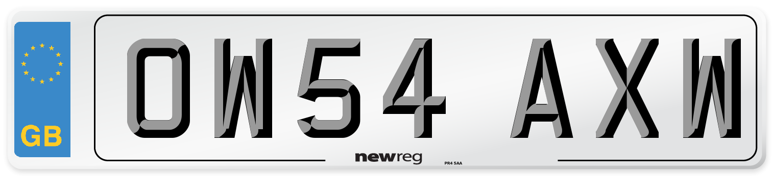 OW54 AXW Number Plate from New Reg