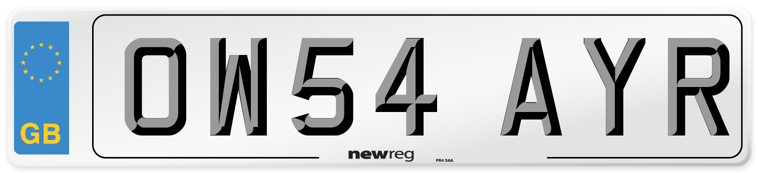 OW54 AYR Number Plate from New Reg