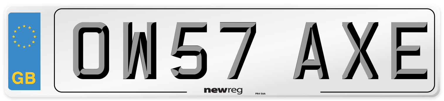 OW57 AXE Number Plate from New Reg