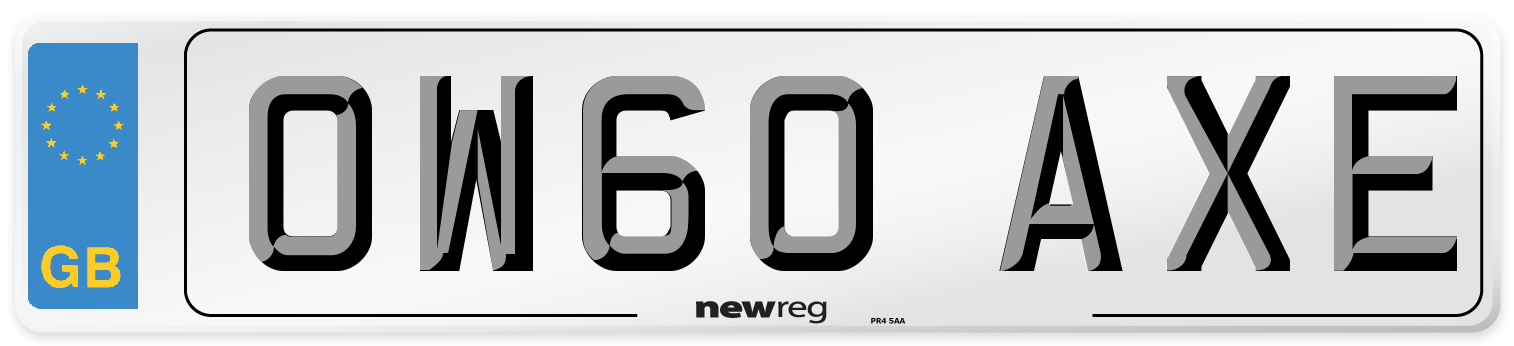OW60 AXE Number Plate from New Reg
