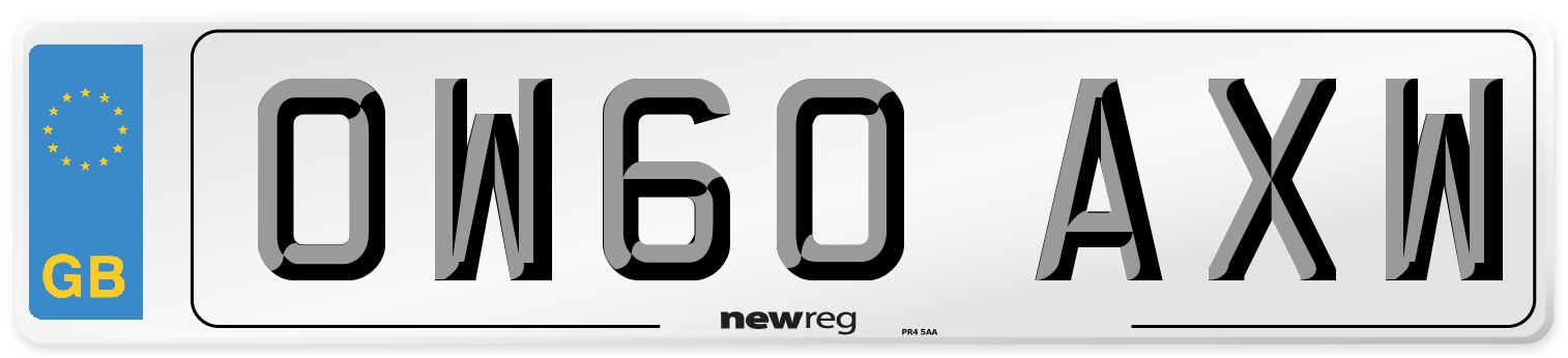OW60 AXW Number Plate from New Reg