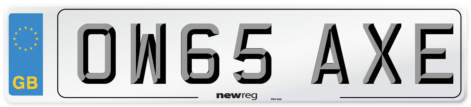 OW65 AXE Number Plate from New Reg