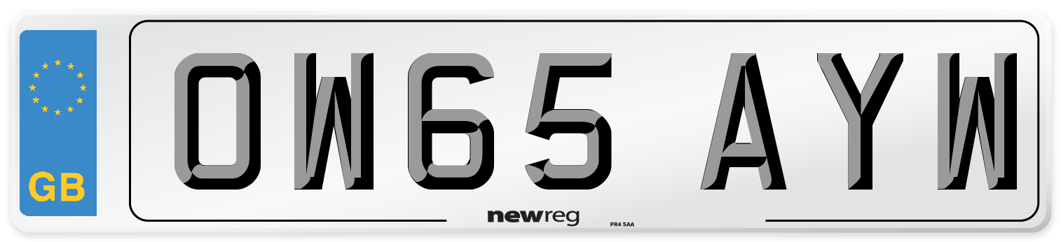 OW65 AYW Number Plate from New Reg