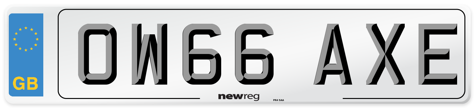 OW66 AXE Number Plate from New Reg