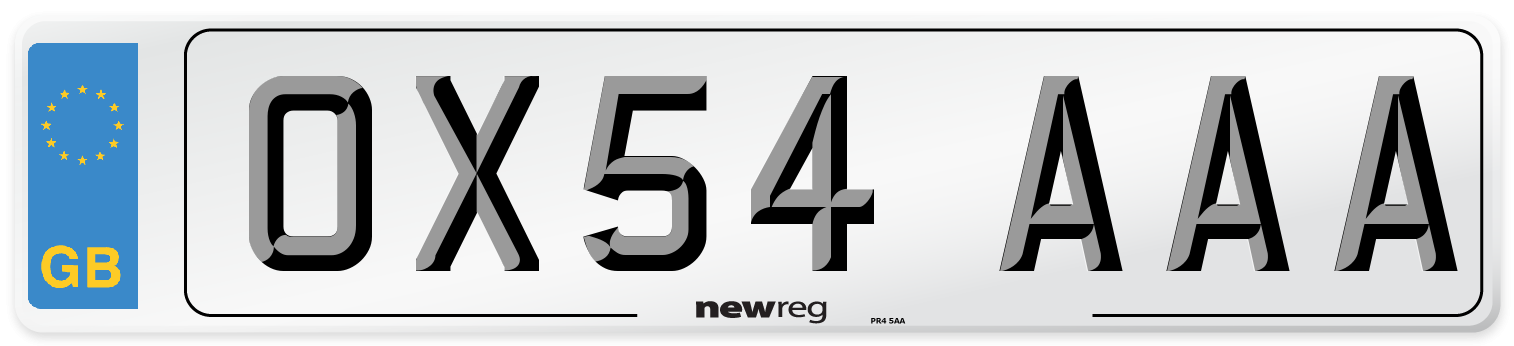 OX54 AAA Number Plate from New Reg