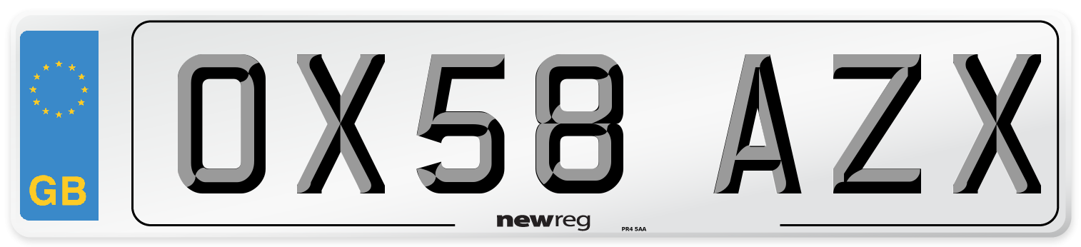 OX58 AZX Number Plate from New Reg