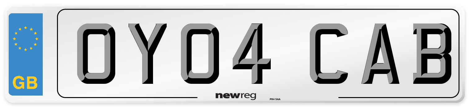 OY04 CAB Number Plate from New Reg