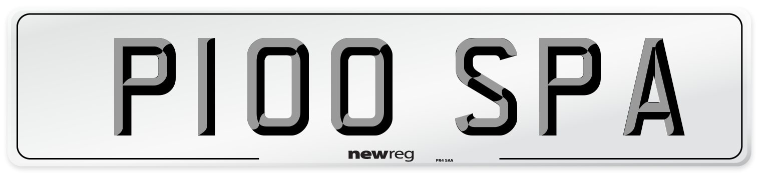 P100 SPA Number Plate from New Reg