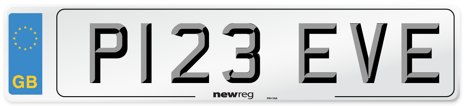P123 EVE Number Plate from New Reg