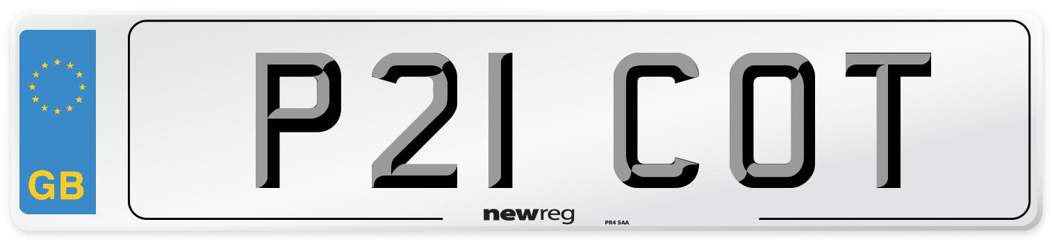 P21 COT Number Plate from New Reg