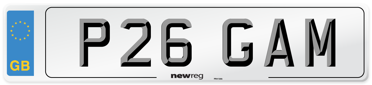 P26 GAM Number Plate from New Reg