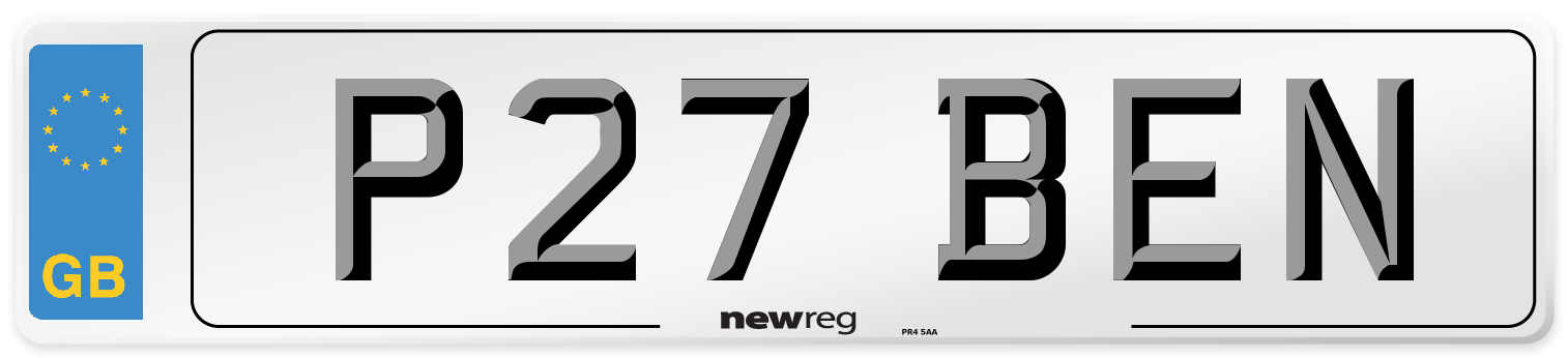 P27 BEN Number Plate from New Reg