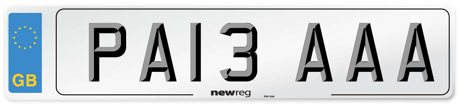 PA13 AAA Number Plate from New Reg