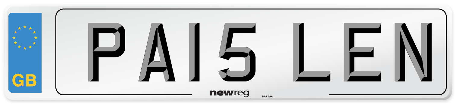 PA15 LEN Number Plate from New Reg