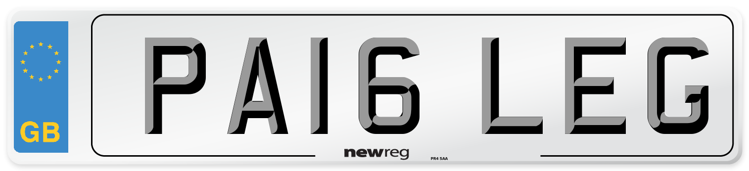 PA16 LEG Number Plate from New Reg