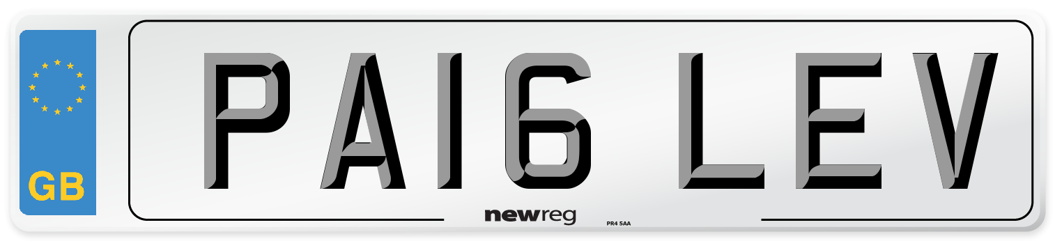 PA16 LEV Number Plate from New Reg
