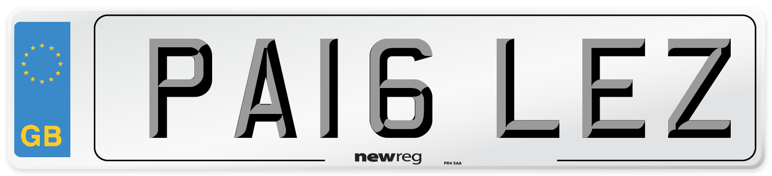 PA16 LEZ Number Plate from New Reg