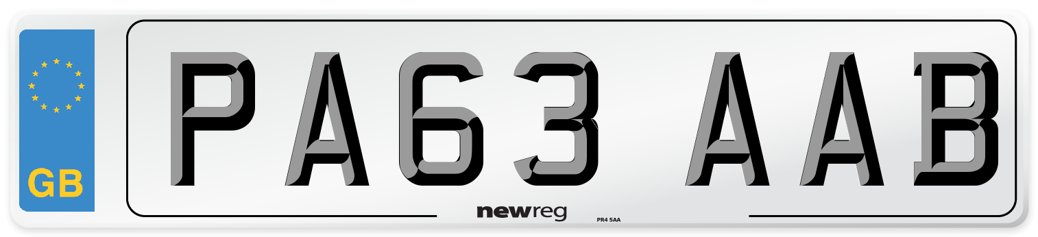 PA63 AAB Number Plate from New Reg
