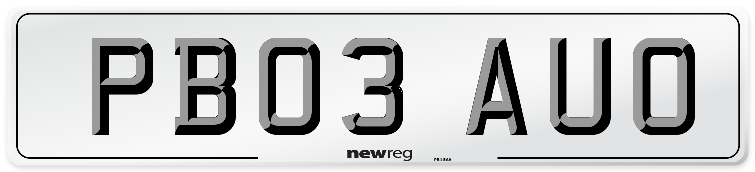 PB03 AUO Number Plate from New Reg