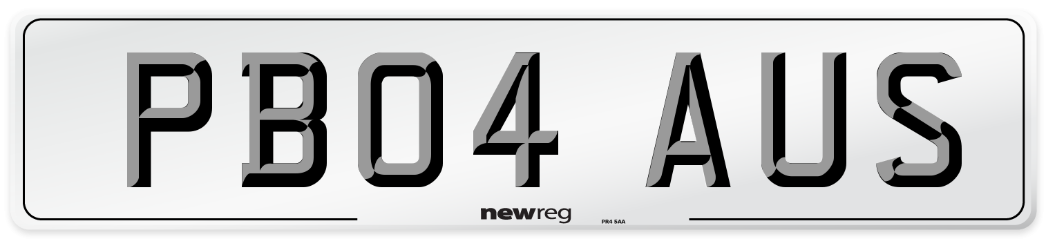 PB04 AUS Number Plate from New Reg