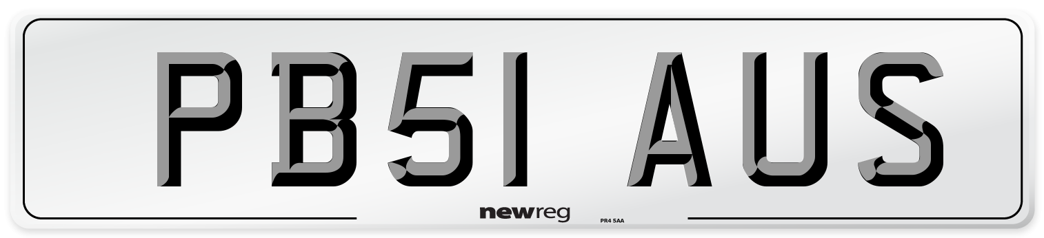 PB51 AUS Number Plate from New Reg