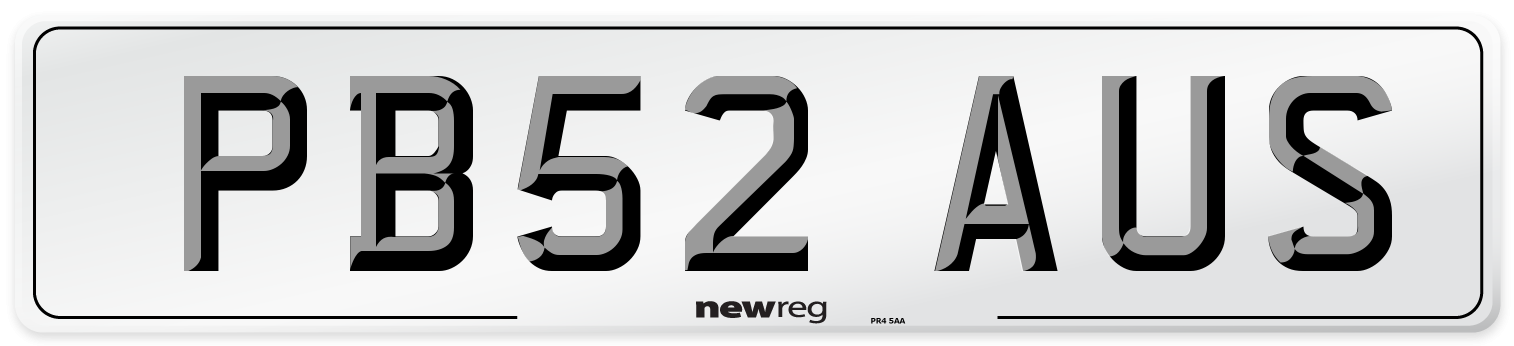 PB52 AUS Number Plate from New Reg
