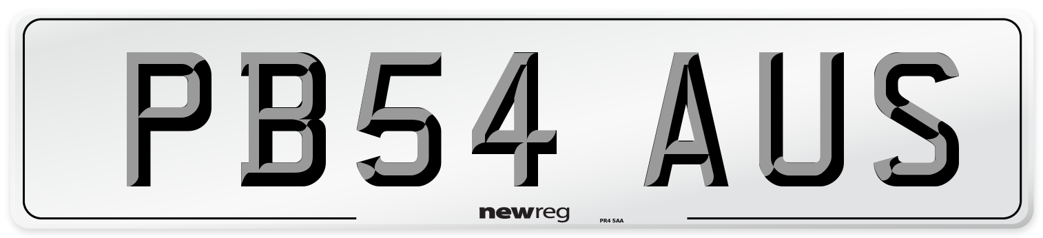 PB54 AUS Number Plate from New Reg