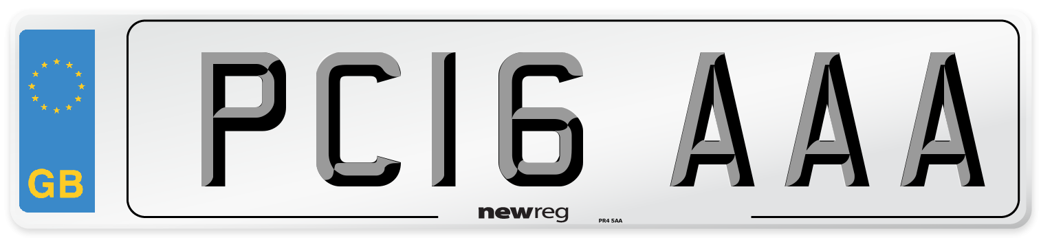PC16 AAA Number Plate from New Reg