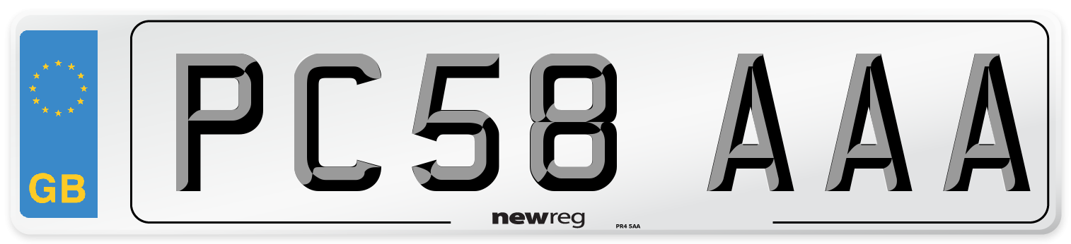 PC58 AAA Number Plate from New Reg