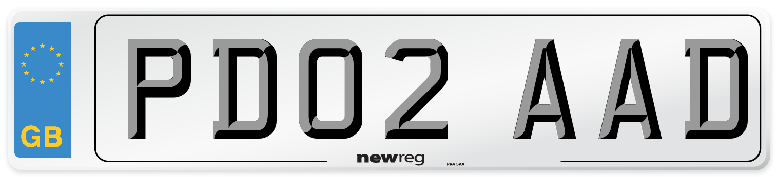 PD02 AAD Number Plate from New Reg