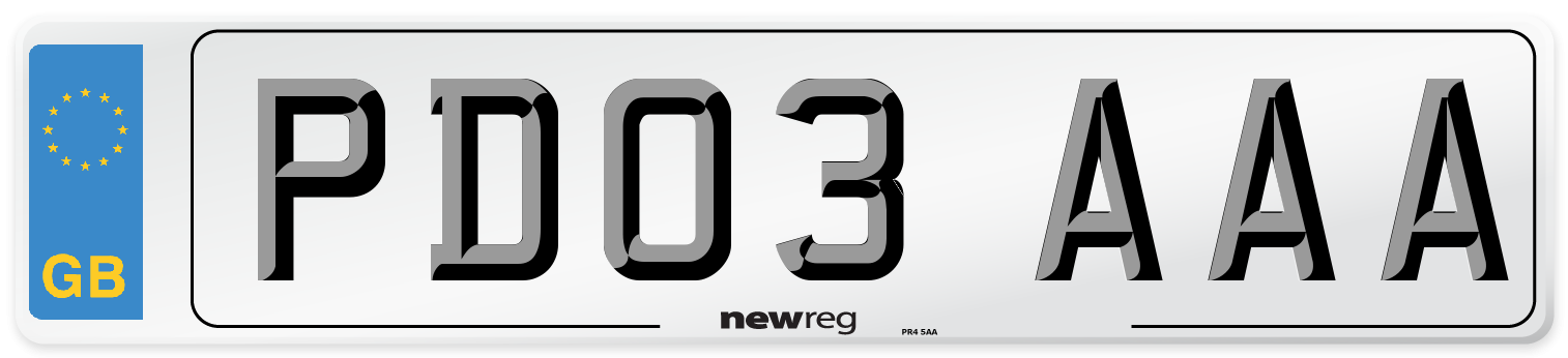 PD03 AAA Number Plate from New Reg