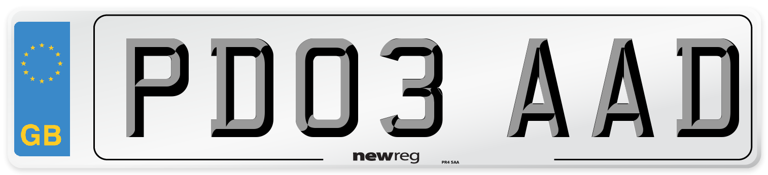PD03 AAD Number Plate from New Reg