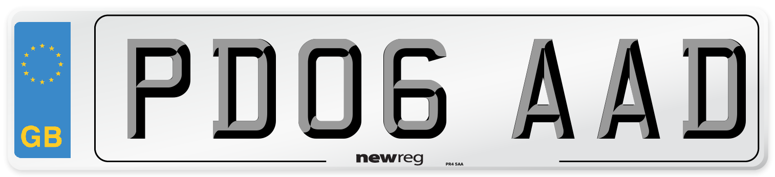 PD06 AAD Number Plate from New Reg