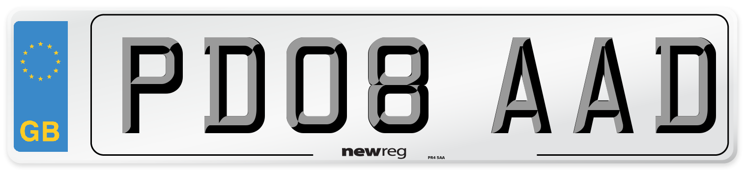 PD08 AAD Number Plate from New Reg