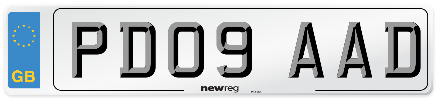 PD09 AAD Number Plate from New Reg