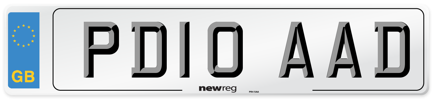 PD10 AAD Number Plate from New Reg
